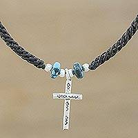 Silver pendant necklace, 'Faith Spirals' - Karen Silver Cross Pendant Necklace from Thailand