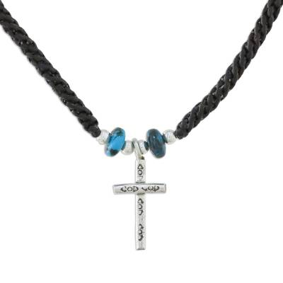 Silver pendant necklace, 'Faith Spirals' - Karen Silver Cross Pendant Necklace from Thailand