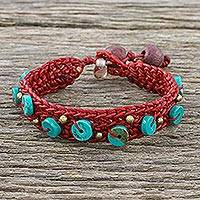 Calcite beaded wristband bracelet, 'Siam Shade in Red' - Handmade Braided Waxed Polyester Calcite Beaded Bracelet