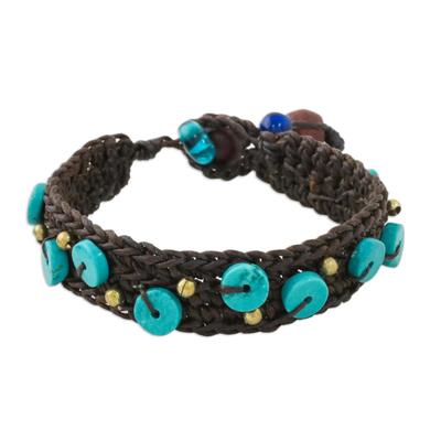 Handmade Wax Polyester Cord Calcite Brass Bracelet Thailand