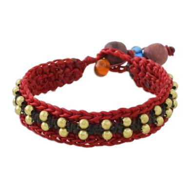 Brass Beaded Wristband Bracelet in Red from Thailand