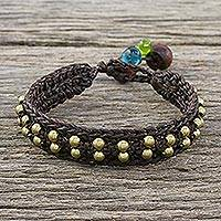 Brass beaded wristband bracelet, 'Siam Beauty in Brown' - Brass Beaded Wristband Bracelet in Brown from Thailand