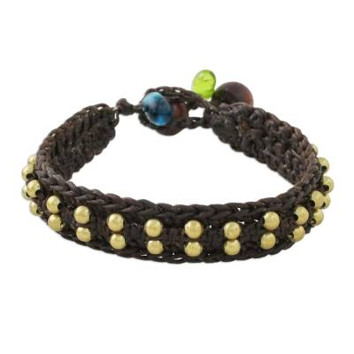 Brass Beaded Wristband Bracelet in Brown from Thailand