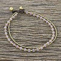 Rose quartz beaded anklet,