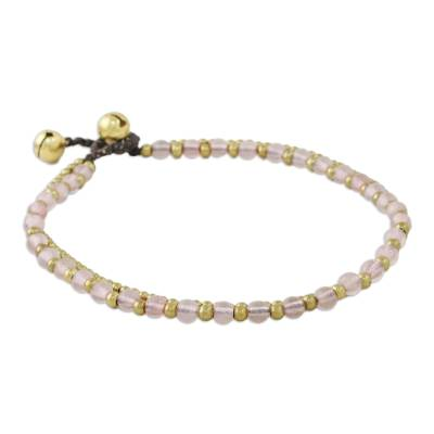 Rose quartz beaded anklet, 'Ringing Beauty' - Rose Quartz and Brass Beaded Anklet from Thailand