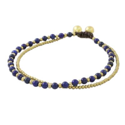 Lapis Lazuli and Brass Beaded Anklet from Thailand