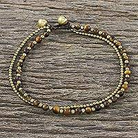 Tiger's eye beaded anklet, 'Ringing Beauty' - Tiger's Eye and Brass Beaded Anklet from Thailand