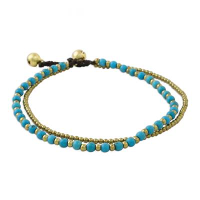 Brass and Calcite Beaded Anklet from Thailand