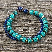Lapis lazuli beaded bracelet, 'Mix of Blue' - Lapis Lazuli and Calcite Beaded Bracelet from Thailand