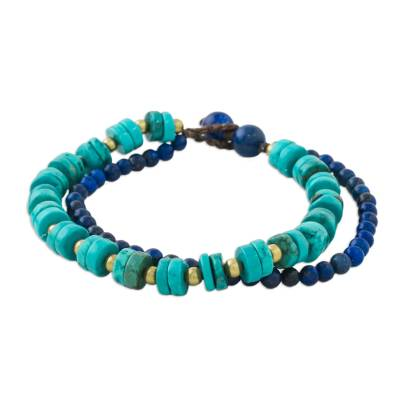 Lapis Lazuli and Calcite Beaded Bracelet from Thailand