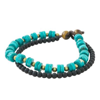 Double Strand Multi-Gemstone Beaded Bracelet from Thailand