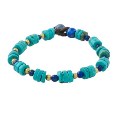 Lapis lazuli beaded bracelet, 'Oceanic Wonder' - Handcrafted Calcite and Lapis Lazuli Beaded Bracelet