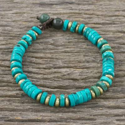 Brass beaded bracelet, 'Verve' - Handcrafted Calcite and Jasper Beaded Bracelet from Thailand