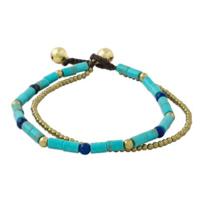 Double Strand Calcite and Lapis Lazuli Thai Beaded Bracelet