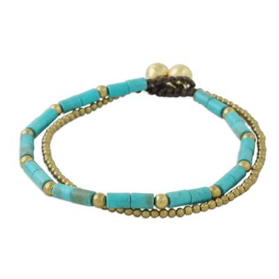 Blue-Green Calcite and Brass Double Stand Beaded Bracelet