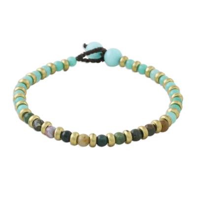 Aqua Green Yellow Unique Agate Dyed Quartz Brass Beaded Bracelet