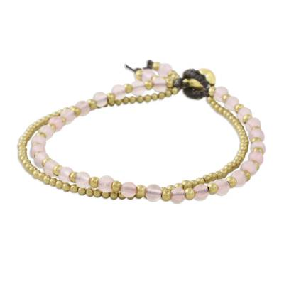 Rose quartz beaded bracelet, 'Valley of Roses' - Handmade Rose Quartz Brass Beaded Bracelet with Loop Closure