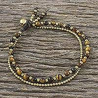 Tiger's eye beaded bracelet, 'Valley of Amber'