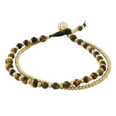 Tiger's eye beaded bracelet, 'Valley of Amber' - Handmade Tiger's Eye Brass Beaded Bracelet with Loop Closure