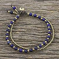 Lapiz lazuli beaded bracelet, 'Valley of Lapis'