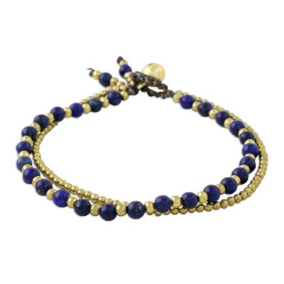 Lapiz lazuli beaded bracelet, 'Valley of Lapis' - Handmade Lapis Lazuli Brass Beaded Bracelet with Loop