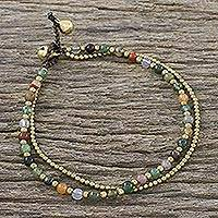 Agate beaded anklet, 'Valley of Color' - Handmade Multi-Color Agate Brass Beaded Anklet with Loop