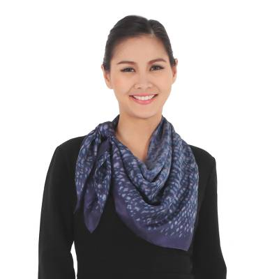 Tie-dyed silk scarf, 'Indigo Party' - Hand Tie-Dyed 100% Silk Scarf in Indigo from Thailand