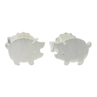 Sterling Silver Hand Crafted Pig Shaped Stud Earrings
