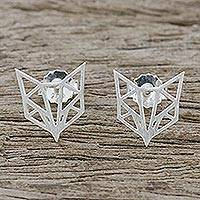 Sterling silver stud earrings, 'Fox Face' - Handmade Fox Stud Earrings 925 Sterling Silver Thailand
