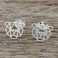 Sterling silver stud earrings, 'Cheetah Face' - Handmade 925 Sterling Silver Cheetah Stud Earrings Thailand