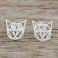 Sterling silver stud earrings, 'Fine Feline' - Handmade 925 Sterling Silver Cat FaceStud Earrings