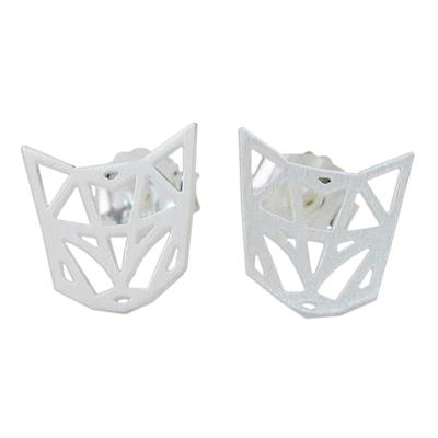 Handmade 925 Sterling Silver Cat FaceStud Earrings