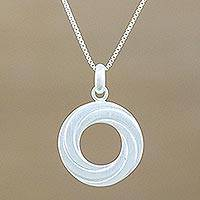 Sterling silver pendant necklace, 'Modern Allure' - Handmade 925 Sterling Silver Circular Pendant Necklace