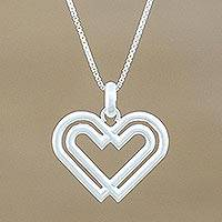 Sterling silver pendant necklace, 'United Hearts' - Handmade 925 Sterling Silver Heart Pendant Necklace Thailand