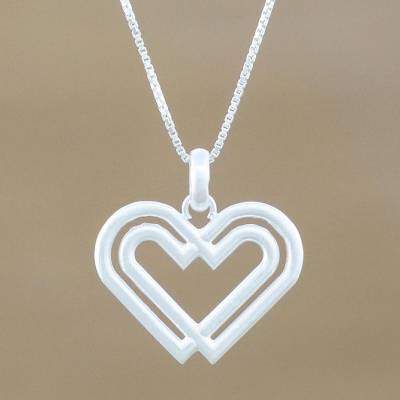 0dc679853b Sterling silver pendant necklace, 'United Hearts' - Handmade 925 Sterling  Silver Heart Pendant