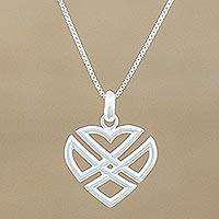 Sterling silver pendant necklace, 'Combined Heart'
