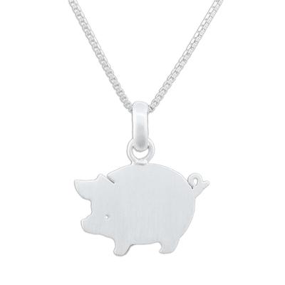 Sterling silver pendant necklace, 'Quaint Pig' - Handmade 925 Sterling Silver Pendant Necklace Pig Thailand