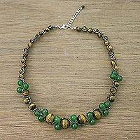 Tiger's eye and quartz beaded necklace, 'Green Runway Chic' - Handmade Tigers Eye Quartz Beaded Necklace Thailand