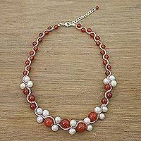 Carnelian and cultured pearl beaded necklace, 'Runway Chic in Red'