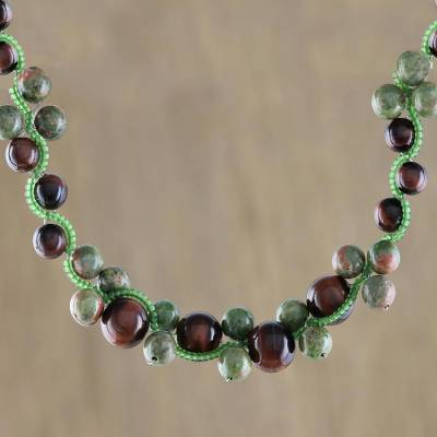 Novica Unakite pendant necklace, Falling Leaves
