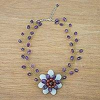 Multi-gemstone beaded pendant choker, 'Emerging Blossom in Purple' - Handmade Amethyst Carnelian Tiger's Eye Choker Necklace