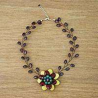Multi-gemstone choker, 'Emerging Blossom in Yellow' - Handmade Garnet Dyed Quartz Amethyst Pendant Necklace