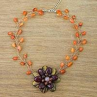 Multi-gemstone beaded pendant choker, 'Bright Emerging Blossom' - Handmade Quartz Carnelian Tiger's Eye Choker Necklace
