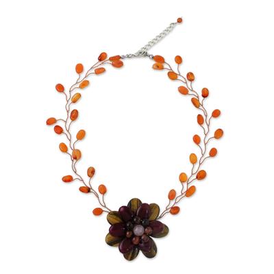 Multi-gemstone beaded pendant choker, 'Bright Emerging Blossom' - Handmade Quartz Carnelian Tiger's Eye Choker Necklace
