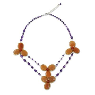 Handmade Carnelian Amethyst Glass Floral Pendant Necklace