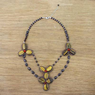 Multi-gemstone beaded pendant necklace, 'Dawn Bloom in Amber' - Handmade Tigers Eye Garnet Dyed Quartz Pendant Necklace