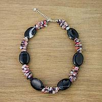 Multi-gemstone beaded necklace, 'Six Nights' - Handmade Agate Amethyst Quartz Beaded Necklace Thailand