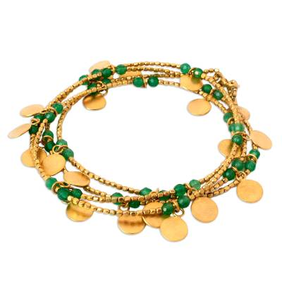 Quartz beaded wrap bracelet, 'Warm Sun' - Quartz and Brass Charm Wrap Bracelet from Thailand