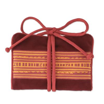 Cotton blend jewelry roll, 'Precious Hill Tribe in Red' - Handmade Lisu Hill Tribe Velvet Jewelry Roll from Thailand