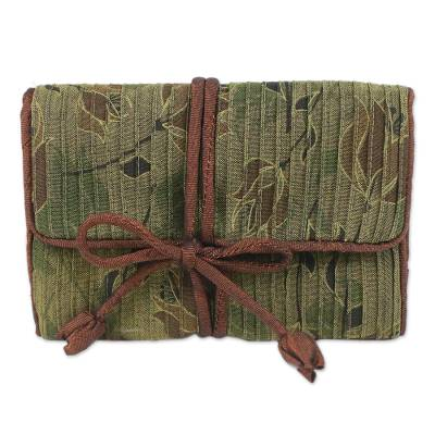 Rayon and silk blend jewelry roll, 'Fashionable Traveler' - Floral Rayon and Silk Blend Jewelry Roll from Thailand